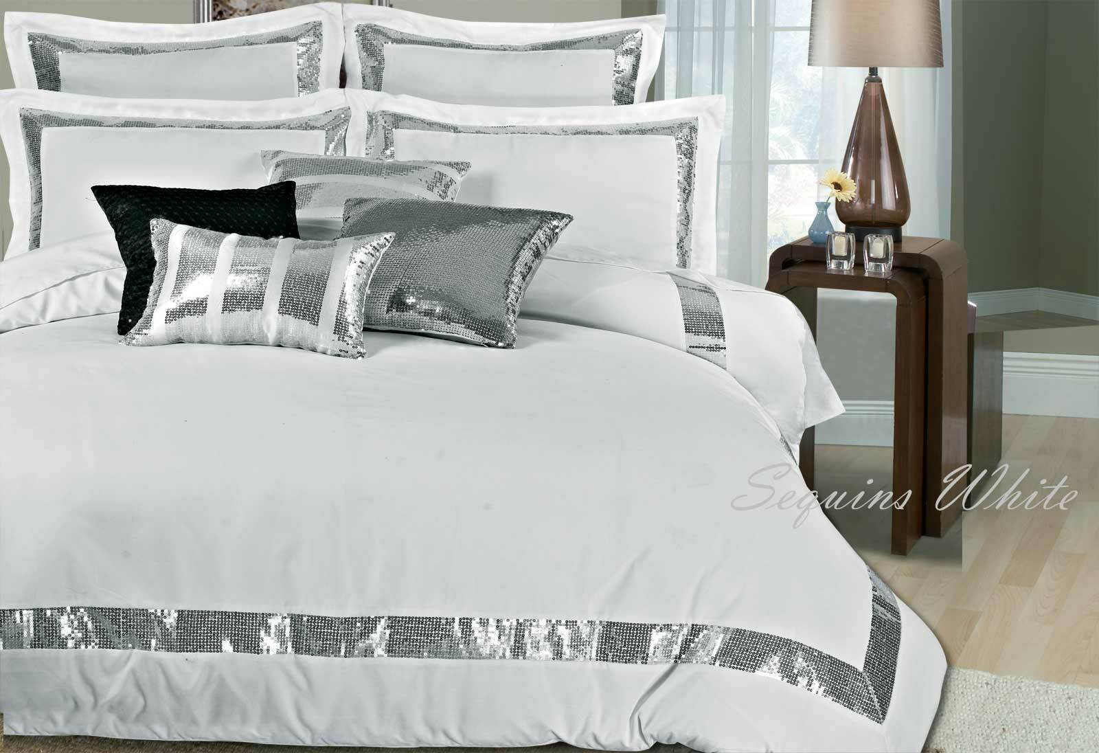 Sequins White Duvet Quilt Cover Set Super King King