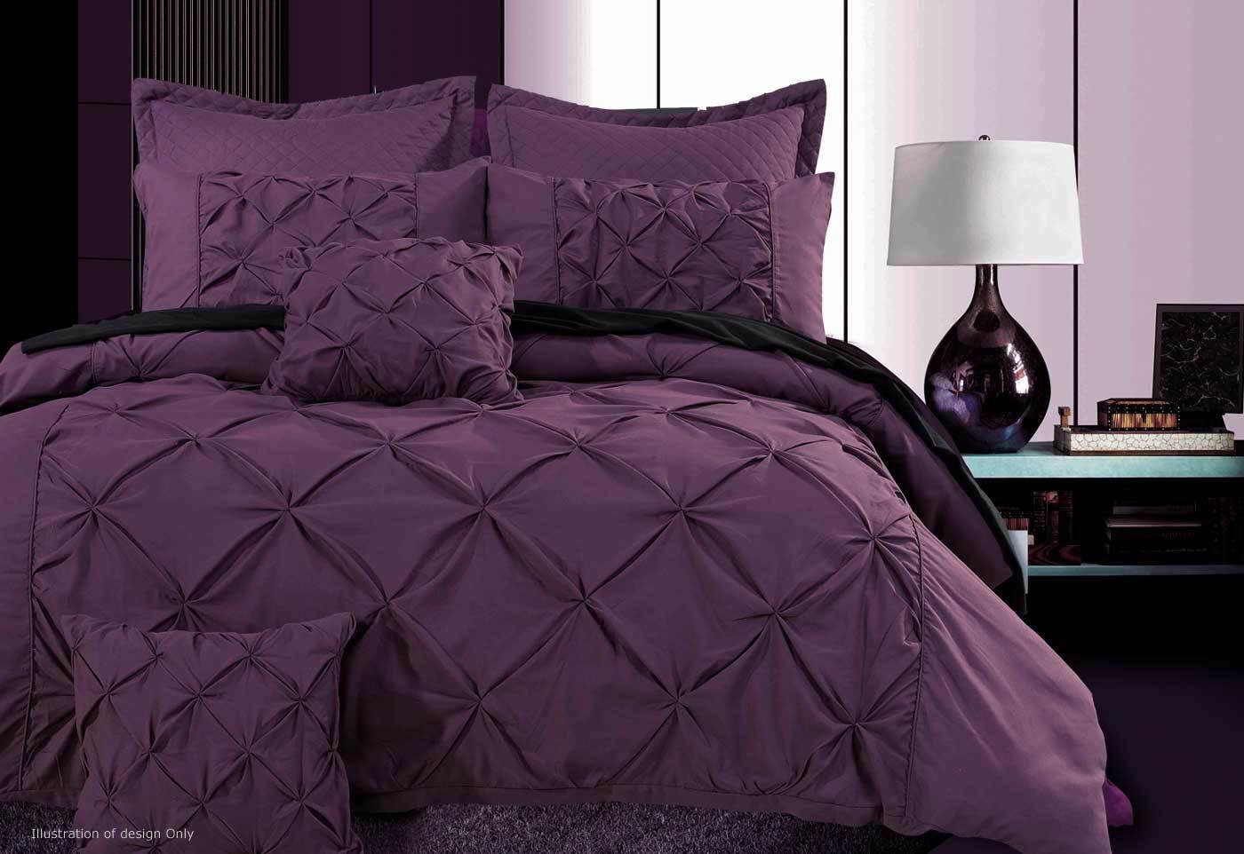 Fantine violet quilt cover set in king queen size for Bedding violet