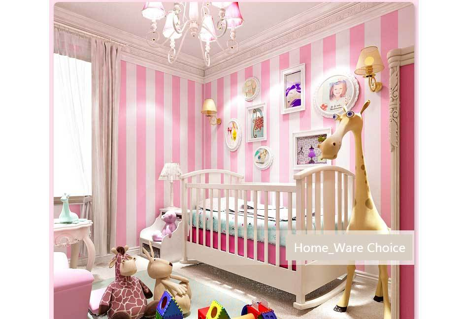 Nursery Baby PINK Room wall decoration - Pink Striped Wallpaper