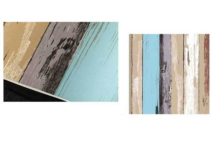 Country Rustic Wood Panel Look Blue Striped Wallpaper