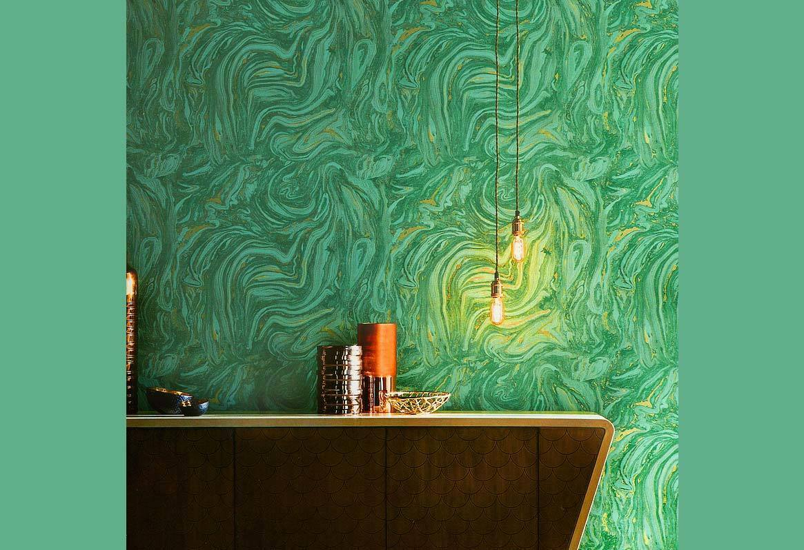 Modern Textured Marble Stone Look Green Gold Wallpaper