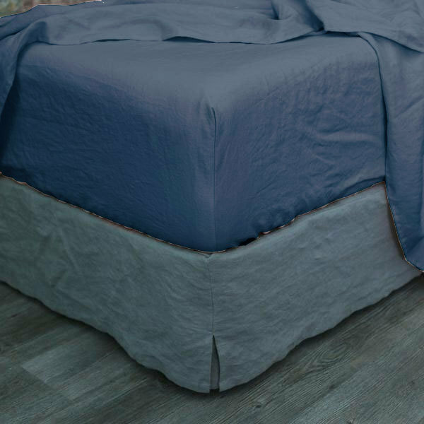King Size Vintage Washed Blue Fitted Sheet, King Fitted Sheet On Queen Bed