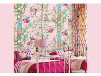 3D textured Baby Nursery Girls room Castle & Fairy Pink wallpaper