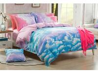 King size Clouds quilt cover set / 3pcs aqua blue and white doona cover set
