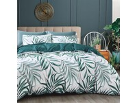 Tropical Leaf Teal Green Quilt Cover Set
