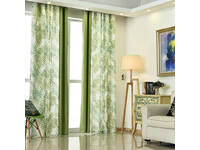 Fern Tree Leaves Decoration Eyelet Curtain in Green