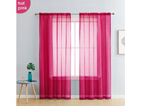 Fuchsia Pink Rod Pocket Voile Sheer Curtains Pair (140x213cm)