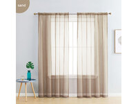 Sand color Rod Pocket Sheer Curtains Pair (140x213cm)