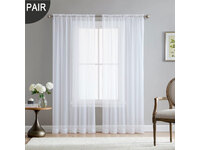 Rod Pocket White Voile Sheer Curtain  ( One Pair )