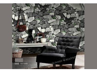 Modern Rustic 3D Cyan Granite Rock Stone look wallpaper