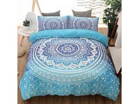 Mandala Aqua Blue Boho Quilt Cover Set