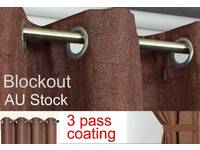 MOCHA BROWN Coffee Blockout Curtains EYELET CURTAIN 140x221cm