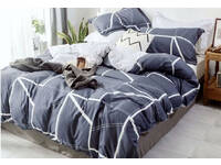 Queen Size 100% Cotton Navy Blue White Geometric Quilt Cover Set