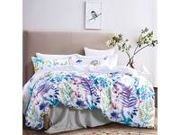 Marina Turquoise Leaf Quilt Cover Set