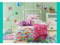 Single Bed Size Jiggle Giggle 'Peacock Princess' girls pink pattern and peacock graphic 2pc Quilt Cover Set