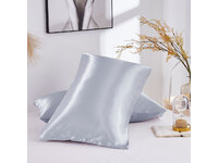 Standard Size Silk Satin Pillowcases Pair (Silver Grey color, 48x73cm)