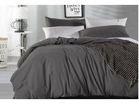 Single Size Pure Cotton Vintage Washed Quilt Cover Set (Charcoal Color)