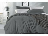 King Size Pure Cotton Vintage Washed Quilt Cover Set (Charcoal Color)