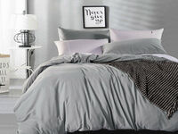 King Size Pure Cotton Vintage Washed Quilt Cover Set (Pewter Color)