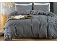 Super King Size Washed Cotton Grey Quilt Cover Set