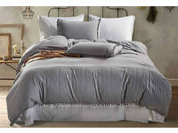 LAST ONE - 3pc Grey Pom Pom Quilt Cover Set (US Queen size)