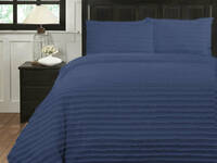 Queen Size Indigo Renee Taylor 250TC Helena Tuffted Quilt Cover sets