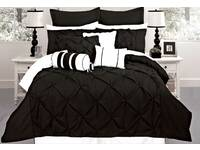 Fantine Black Super King / Queen / King Quilt Cover / Duvet Doona Cover Set