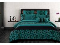 Queen Size Halsey Teal and Black Quilt Cover Set