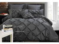 King Size Luxton Fantine Charcoal Diamond Pintuck Quilt Cover Set
