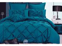 Luxton Fantine Teal blue Diamond Pintuck Quilt Cover Set
