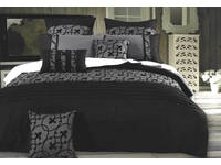 Lyde Charcoal Black Quilt Cover Set in Super King / Queen / King / Double Size