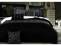Queen size Lyde Charcoal Black Quilt Cover Set