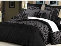 King Size Quilt Cover for Lyde Charcoal Black Design