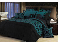 Queen Size Lyde Black Teal Quilt Cover Set by Luxton