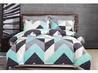 KING size Aqua Chevron 100% Cotton Quilt Cover Set