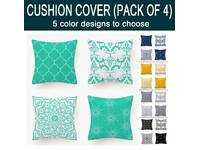 Set of 4, Abstract Floral Flannel Soft Cushion Covers 45x45cm (multiple colors)