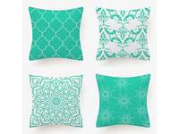 Flannel Cushion Cover - Turquoise (Set of 4)