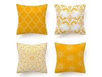 Flannel Cushion Cover - Yellow (Set of 4)