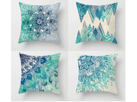 Home Decor Aqua Blue Turquoise Cushion Cover 4pcs Pack