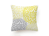 Yellow Grey Floral Cushion Cover 45x45cm