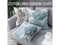 43x43cm Palm Leaves Cotton Linen Cushion Cover (multiple colors)