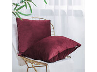 Velvet Square Cushion Cover 45x45cm - Burgundy Red
