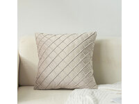 Velvet Diamond Pleated Cushion Cover - Beige