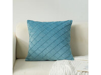 Velvet Diamond Pleated Cushion Cover - Blue