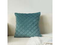 Velvet Diamond Pleated Cushion Cover - Teal Green