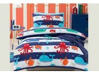 Last Stock - Single Size Sea Creatures Boys navy blue printed Quilt Cover Set
