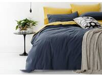 100% Cotton Queen size European Vintage Washed Sheet set (Blue)
