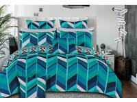 Ricoco teal Zig Zag quilt cover set / doona cover set
