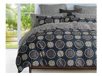 King size Elka blue and black quilt  cover set / 3pcs duvet cover set