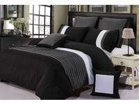 Aleah Quilt Cover Set Black and Grey Pintuck Duvet Cover Set